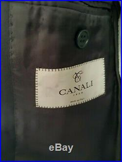 Italian Canali Best Suit Chest 42 W 34 L 30 French Navy Blue Wool 2 Piece