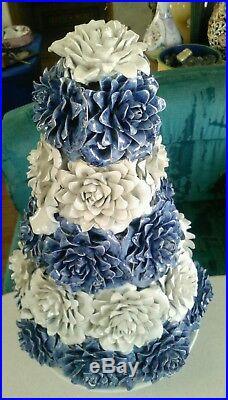 Italian Ceramic pottery Blue white Chrysanthemum floral Center piece bouquet 40s
