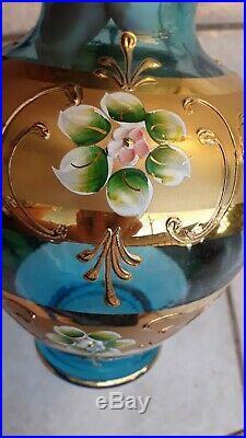 Italian Glass Blue Gold Hand Painted Flower Vase Center Piece Art Decor Italy