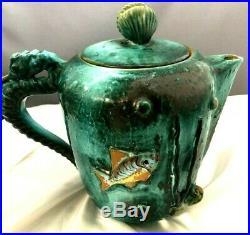 Italian Mid-Century Modern Art Pottery 3-D Seahorse Octopus Tea Set 13 Pieces