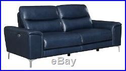 Italian Modern 2-Piece Power Reclining Sofa & Loveseat Set Ink Blue Leather