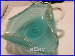 Italian Murano Art Glass Candy Bowl Vintage Light Blue Swirl. Beautiful Piece