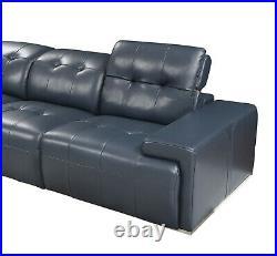 J&M Furniture Davide Blue Italian Leather Sectional Sofa 6 Pieces