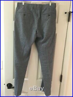 Jcrew Ludlow 2 Piece Suit 36R Pants 30 x 32 Cotton Linen Echo Blue EUC orig $456