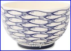 Jersey Pottery Sardine Run Design Dinner Set, 12 Pieces 8 Plates 4 Bowls Blue