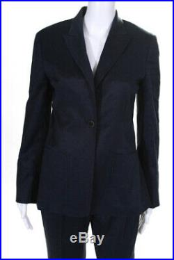 Kiton Womens Two Piece Notched Collar Pants Suit Cotton Blue Size Italian 42
