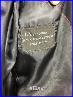 La Sartoria Stylish Italian 2-piece business suit Navy Blue Size Eur 56 (D201)