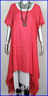 Ladies Italian 2 Piece Lagenlook Boho Side Split Linen Long Cotton Tunic Dress