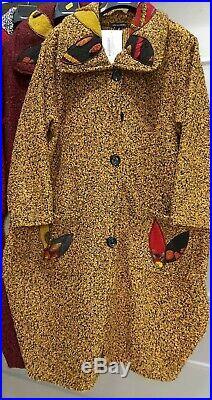 Ladies Womens New Italian Winter Warm Long Coat Patch Work Lana Wool Warm Coat