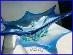 Large Mid-Century 1950s Modern Blue Murano Cased Star Center Piece Vase Bowl