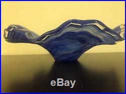 Large Stunning Ruffled Blue Glass Center Piece Fruit Bowl 16