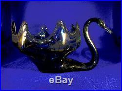 Lg. Italian Art Glass Swan Vase/planter Display Piece Blue, White, Swirl 12 1/2