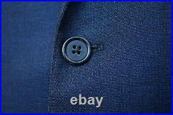 Luciano Barbera Collezione Sartoriale Patch Pocket Blue Sharkskin Blazer US 44L