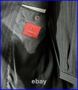 Luigi Bianchi Mantova (43R) Men's Gray/Blue Pinstriped Wool 2 Piece Italian Suit