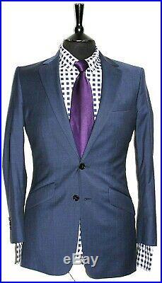 Luxury Mens Reiss London Blue 2 Piece Suit 36r W32 X L30.5