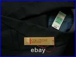 Luxury Pure New Wool Italian 2 Piece Suit 46 Chest 40 Waist Navy Bnwt