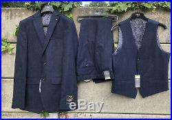M&s Slim Fit Blue Italian Wool 3 Piece Suit 36 Jkt 32 Pants M Waistcoat Bnwt