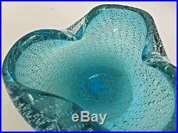 MURANO BULLICANTE Art Piece Clam Shape Ashtray Blue withGold Specks Vintage T101