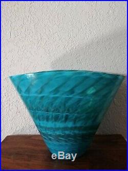 MURANO Italy Art Glass Turquoise Coastal Vase Aquatic Center piece ocean decor