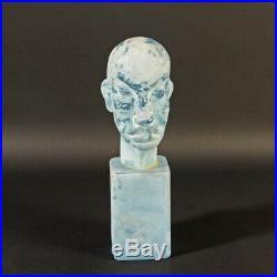 MUSEUM PIECE head sculpture ERMANNO NASON 1963-72 Murano glass Cenedese blue