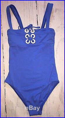 Melissa Odabash Italian Designer One-Piece Blue Lace Up Swimsuit SIze US 2 New