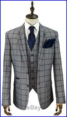 Men's British Designer Cavani Grey 3 Piece Blue Checked Tailored Fit Suit