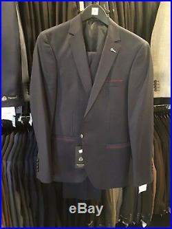 Men's Slim Fit 3 Piece Suit European Style Navy Blue