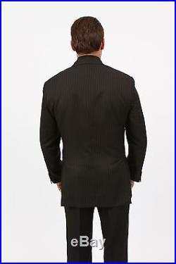 Men's Three Piece vested 2 Button Pinstripe Suit Formal Modern Fit Stripe Suits