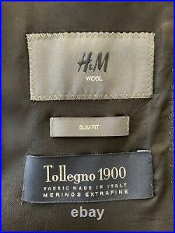 Mens 2 Piece Suit 36R 32W 29L Slim Fit Blue 100% Wool Italian Fabric GR953