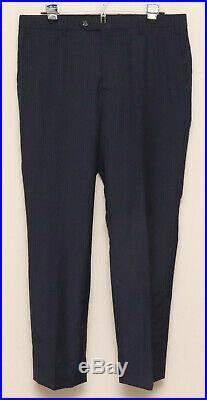 Mens 44R Pravda 2 Piece Blue Stripe 100% Wool Handmade Italian Suit