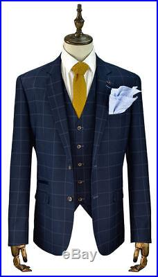 Mens Blue Check Slim Fit 3 Piece Wedding Formal Work Suit Italian Style