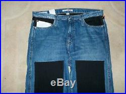 Mens Calvin Klein High Rise Straight Knee Patch Jeans 33/32 NWT $148 Italian