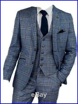 Mens Cavani Blue Check Tweed 3 Piece Wedding Formal Work Suit Italian Reg Fit
