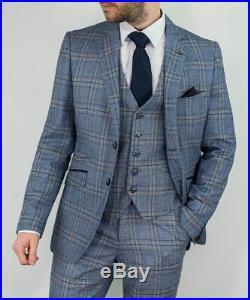 Mens Cavani Blue Slim Fit 3 Piece Tweed Wedding Formal Work Suit Italian Style