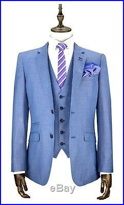 Mens Cavani Light Blue Slim Fit 3 Piece Wedding Formal Work Suit Italian Style