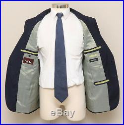Mens Skinny Slim 44R PRAVDA 2 Piece Blue Stripe 100% Wool Handmade Italian Suit