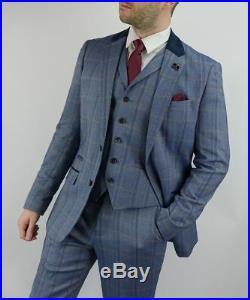 Mens Tweed Navy Check Slim Fit 3 Piece Wedding Formal Work Suit Italian Addicted