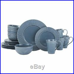 Mikasa Italian Countryside Accents Fluted Blue 16 Piece Dinnerware Set