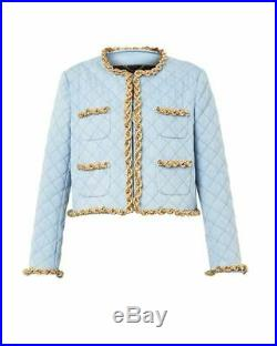 Moschino Italian Couture 2 Piece Denim Quilt Gold Chain Skirt Suit IT44 USA 10
