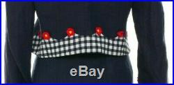 Moschino Italian Navy Gingham Flower Lined 2 Piece Skirt Suit Jacket USA Sz 10