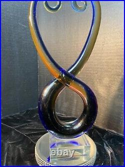 Murano Art Glass Abstract Sculpture Figure Blue Red Artist's Piece 12