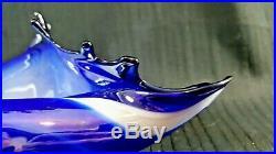 Murano Blue Iridescent Art Glass Seashell Conch Centre Piece Bowl