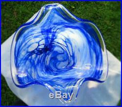 Murano Lavorazione Italian Glass Center Piece Multi-Color Blue & White Swirl