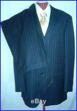 NEW MECCA 2 Piece Men Suit Navy Blue Pinstriped ITALIAN 42 L 36/33 R Cuffed