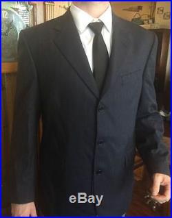 NEW Men's Lubiam Italian Virgin Wool Sleek 2-Piece Suit Dark Navy Blue Classic