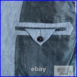 NWOT ERMENEGILDO ZEGNA Sport Coat 44 S Carolina Blue Linen Patch Pocket 3/2 Roll