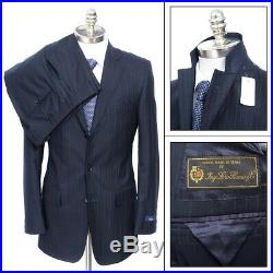 NWT BROOKS BROTHERS Regent Navy Striped Loro Piana Wool Two-Piece Suit 48 38 R