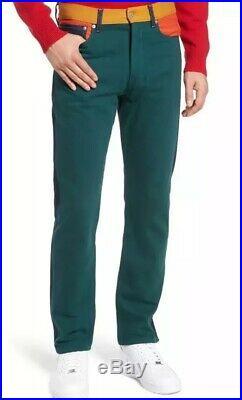 NWT CALVIN KLEIN Men's 34x32 Ukelely Patch Jeans Italian Denim Grn Orng CKJ 035