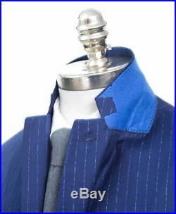 NWT Men's ROBERT GRAHAM Randall Navy Blue Striped Wool Two Piece 2Btn Suit 46 R