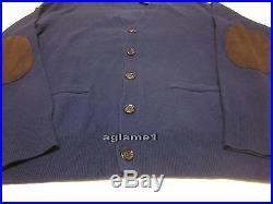 NWT POLO RALPH LAUREN merino wool suede patch CARDIGAN SWEATER L Italian Yarn